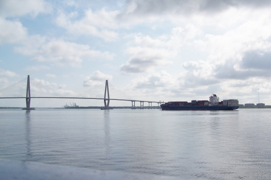 the Arthur J. Ravenal Jr. Bridge crosses the Charleston Harbor from Charleston to Mt. Pleasant. Charleston is now the seventh largest container port in the United States.