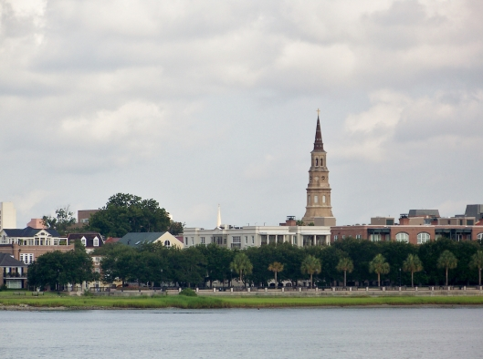 The skyline of Charleston as seen from the tour boat to Ft. Sumter National Monument.