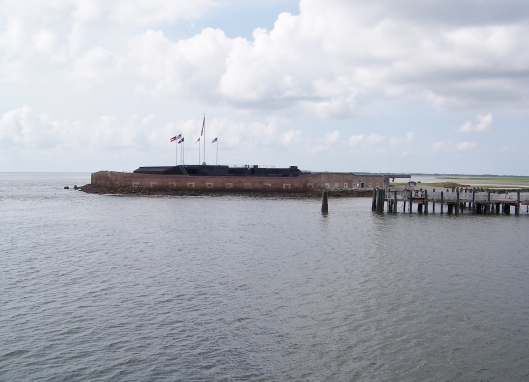 Approaching Fort Sumter on the ferry.