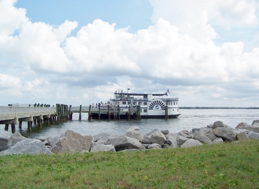 The Fort Sumter ferry at anchor while passengers explore the fort.