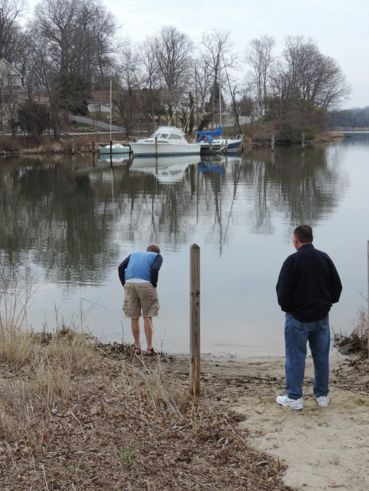 Our son with his dad down at the creek near his home in Maryland.