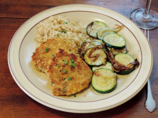 Missouri Style Crab Cakes with Sauteed Zucchini and Brown Rice
