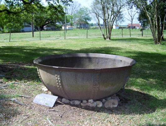A cane syrup boiling pot like the one shown here,  could be found on every farm and plantation in the old South. They were used to make thick cane sugar syrup and cane sugar brown sugar.squares.