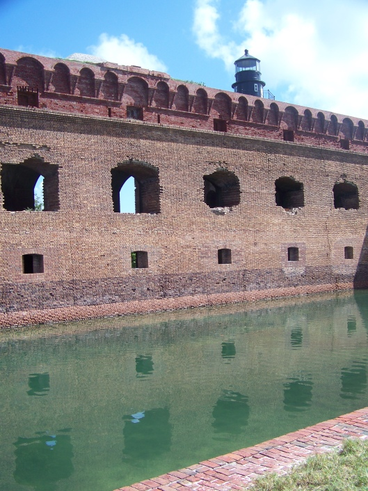 The National Park Service reported in 2010, that parts of the structure have already fallen into this moat which surrounds the fort.