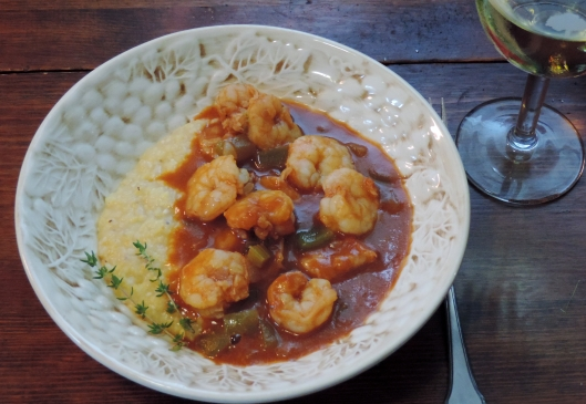 This Shrimp Creole is served over grits. It is equally good served over white or brown rice.