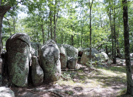 A long line of granite rocks along the path.