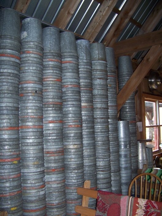 Vermont has many maple sugar houses. In this house, you can see the hundreds of buckets that are hung each year to collect the sap from the maple trees, so plentiful in the state.