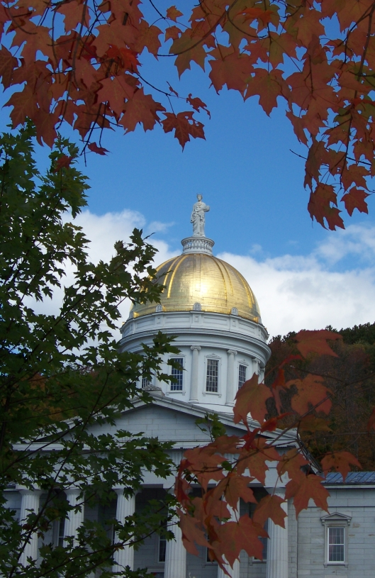The golden dome of the Capitol was beautiful against the brilliant sky and fall leaves.