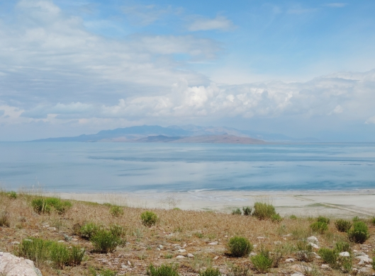 Looking across the Great Salt Lake from Antelope Island.