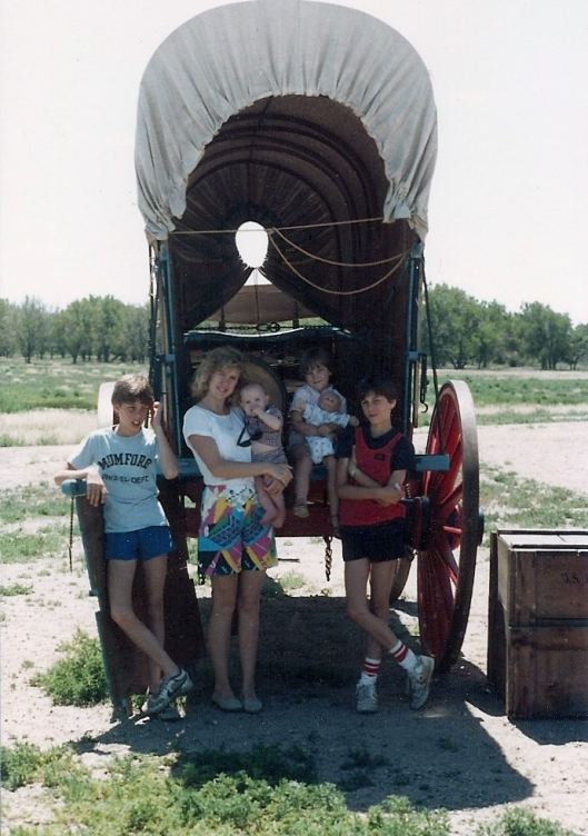 Our five children, over twenty-five years ago, on a trip to Bent's Fort in Colorado.
