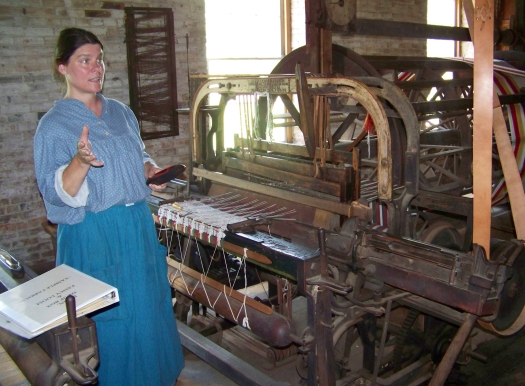 At times, the mill is staffed with guides in period costume. This was our guide when we visited the mill in the summer of 2011.