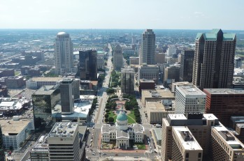 The city of St. Louis seen from 630 feet above, from the windows at the top of the Gateway Arch.