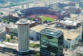 One of my favorite places, Busch Stadium, home of my beloved Cardinals, as seen from the Arch.