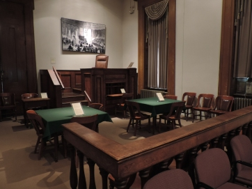 The Dred Scott case would have been argued in a courtroom like the one pictured here. It has been set up to look like a courtroom of that era.