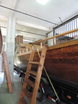 The reconstructed keel boat and the two pirogues are stored on the ground level of the Boat House when not in use on the river.