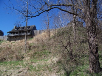 The fort had a commanding view of the Missouri River from this bluff.