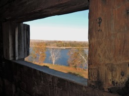 A look at the Missouri River out a porthole in one of the blockhouses.