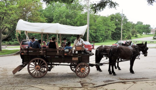 Combination tickets can be purchased at the museum that allow you to take a covered wagon ride through historic Independence, MO.
