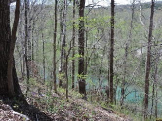 This bluff at the park headquarters overlooks the Current River.