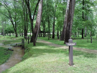 These sign posts indicate where individual activities important to the production of iron were located. A map, obtained at the Museum will explain the function of each.