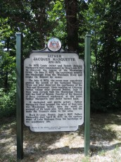 The sign you see as you approach the boardwalk speaks of Louis Joliet and Father Jacques Marquete who passed by this place sometimes just after July 4, 1673, in canoes on the river. The purpose of their journey was to explore and determine the course of the Mississippi River.