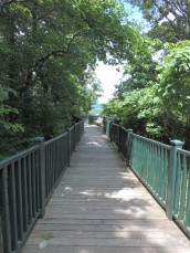 This boardwalk takes you to a panoramic view of the Mississippi River.