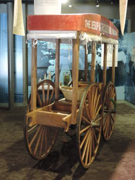 This wagon, kept in the museum, was used by George Washington Carver as he traveled around teaching southern farmers better farming practices that would replenish the soil and keep their farms producing good crops.