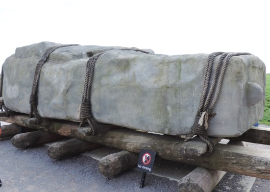 A sarsen stone on rollers...the method used to move the stones that became part of Stonehenge.