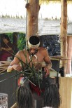This Islander is using plant fibers to create hats, head bands, baskets and many other items