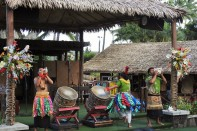 Music in Polynesia is that typical sound you think of when you think of Hawaiian music. The islanders have many ways of producing the sounds, blowing into conch shells, beating drums, even making music with a nose flute.